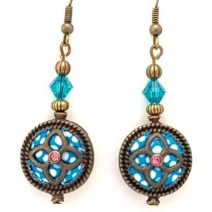 Jewelry - !!SALE 3/$30!! Blue White Pink~Antique Brass~Cryst